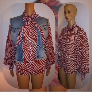 Red/White Print Blouse